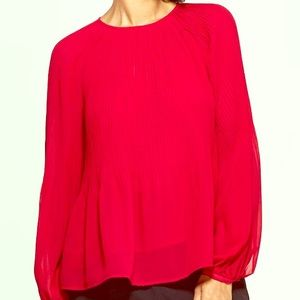 a new day Long Sleeve Crewneck Pleated Blouse